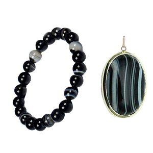 Sulemani Hakik Matte Finish Stone Bracelet and Sulemani Hakik Stone Pendant