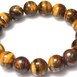 Tiger Eye-Stone for Will Power, 8 mm Bead Lab Certified Semi Precious Stones Strand Bracelet for Men and Women