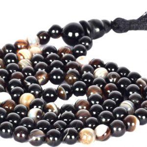 Guaranteed Natural Lab Certified Energized Black Brown AA+ Sulemani Hakik (108+1) Bead Mala Get 1 Bracelet Free